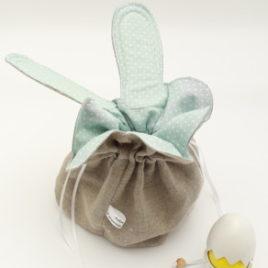 Aumônière à oreilles en lin, doublée coton vert celadon à petits pois blancs