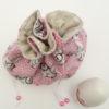 Aumônière rose imprimé lapin à lunettes