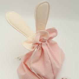 Aumônière à oreilles vichy rose pastel
