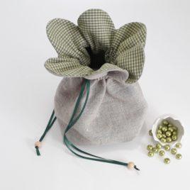 Aumônière lin et coton vichy vert