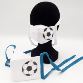 Masque homologué UNS2 grand public antiprojection personnalisé foot, taille adulte, taille enfant 6-8 ans
